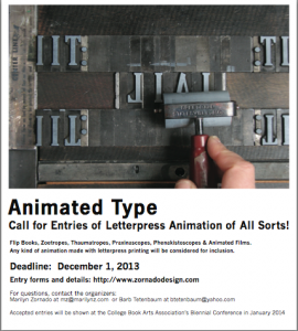 Time to get busy making flip books, zoetropes, animated films on the letterpress!